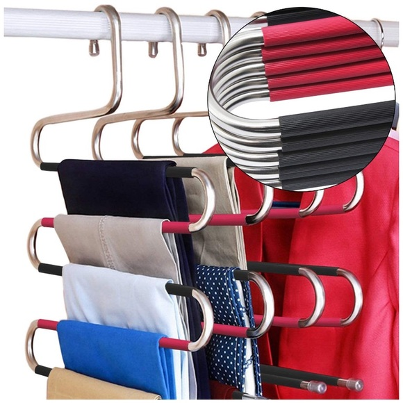 5 Pcs Stainless Steel Clothes Pants Hangers